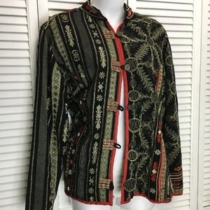 Chico's asian style jacket black red gold size L 2
